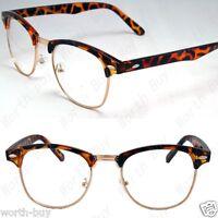 New Clear Lens Fashion Glasses Retro Horn Rim Nerd Mens Womens Demi Brown Frame