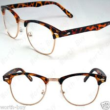 New Fashion Eyewear Brown Gold Nerd Clear Lens Frame Glasses Mens Womens Cat Eye