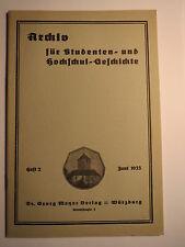 Egerländer Landtag Prag - Corps Rhenania Würzburg - Jahn / Archiv Heft 2 1933