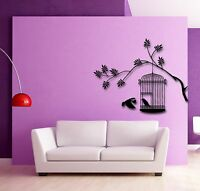 Wall Stickers Vinyl Decal Tree Branch Birds In Cage Cool Decor  (z1618)
