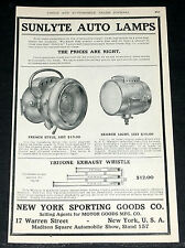 1906 OLD MAGAZINE PRINT AD, SUNLYTE AUTOMOBILE LAMPS, TRITONE EXHAUST WHISTLE!