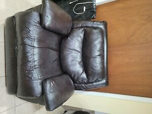 leather recliner chair used. Brown, electric