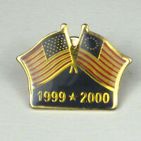 American Flag Lapel Pin Goldtone 1999 2000 Fourth of July .9 inches USA Resin