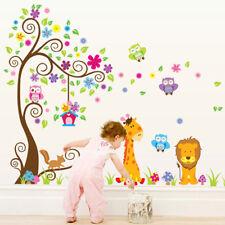 Jungle Zoo Animals Tree Wall Stickers Kids Nursery Decals Girls Bedroom Decor UK