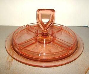 Cambridge Rosalie Pink 5 Piece Relish Tray Set