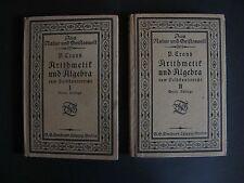 Antik RAR Lot 1916 Arithmetik und Algebra zum Selbstunterricht Paul Crank K0307