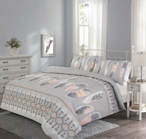 Harlay Feathers Duvet Cover Set With Pillow Single Double King Super King Size