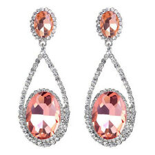 Pierced Pretty Oval Salmon Pink Crystal Sparkling Diamante Dangle Drop Earrings