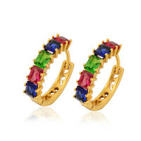 Fashion 18K Yellow Gold Filled Multi Colour crystal Hoop Earring jewelry