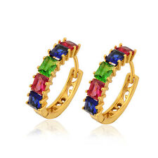 Gorgeous 18K Yellow Gold Filled Multi Colour crystal Crystal Hoop Earring