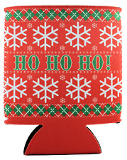 Ho Ho Ho Pattern Neoprene Collapsible Can Coolie, Ugly Sweater Christmas Party