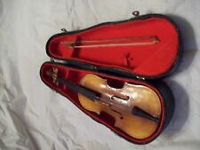Vintage Miniature Cello Music Box with Case - Plays Jingle Bells