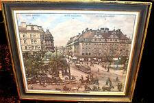 Aquarell, München Stachus 1910,Hotel-Kaiserhof-Königshof und Stachus,gerahmt