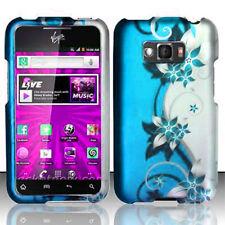 For LG Optimus Elite LS696 Rubberized HARD Case Snap On Phone Cover Blue Vines