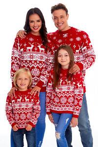 Mens Womens Kids Family Christmas Jumper Unisex Ladies Xmas Knit Sweater Novelty