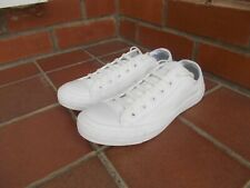 Authentic CONVERSE All White LEATHER Lo Trainers * sz 6 uk *