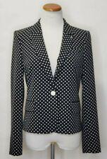 Tommy Hilfiger Polka Dot One-Button Jacket Black Ivory Jacket Blazer 6