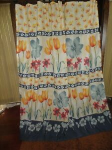 SPRINGS BAMBOO TALL TULIPS YELLOW ORANGE PINK FABRIC SHOWER CURTAIN  68 X 70