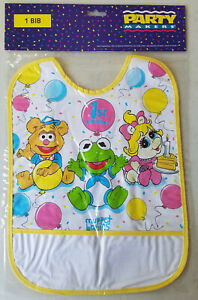 Vintage Muppet Babies First Birthday Bib NIP