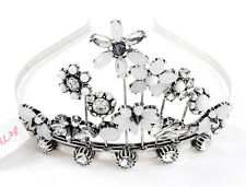 Betsey Johnson SOMETHING NEW Bridal Clear Crystal & White Flower Tiara Headband