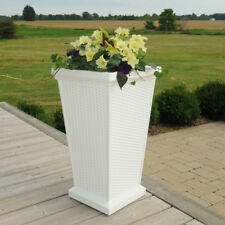 Mayne Planter White Polyethylene Rectangle Tall Flower Pot Weather Proof New