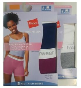 Hanes Women's Premium Boyfriend Ring Spun Cotton Stretch Mid-Thigh Briefs 4-Pack