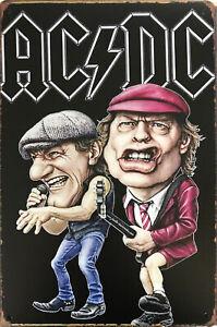 ACDC Tin Metal Sign  VINTAGE RETRO Rustic Look .. MAN CAVE PUB GARAGE CAFE