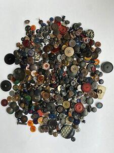 Vintage Lot Of 550  Dark Buttons, Black, Dark Blue, Large, Small  1 lb .07 oz.
