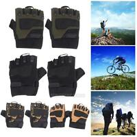 Mens Outdoor Half Finger Gloves Military Tactical Airsoft Hunting Riding Cycling