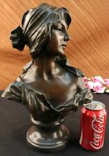SIGNED BRONZE HANDCRAFTED CLASSIC SCULPTURE LADY BUST STATUETTE ON MARBLE FIGURE