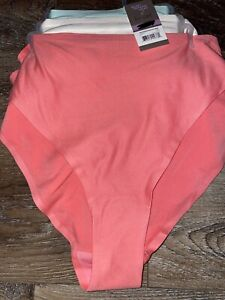 Secret Treasures ~ 3-Pair Womens Hi-Cut Underwear Panties Polyester (B) ~ 2XL/9
