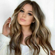 Fashion Women's Long Curly Wigs Brown Gold Blonde Wavy Hair Ombre Party Wig CHY