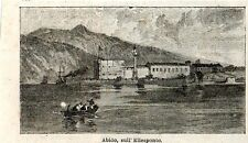 Stampa antica ABIDO ABYDOS veduta dal mare Misia Turchia Turkey 1896 Old Print