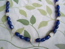 16 inch Dark BLUE Glass and WHITE Cat Eye Bead GOLD Spacer NECKLACE CHOKER G-46