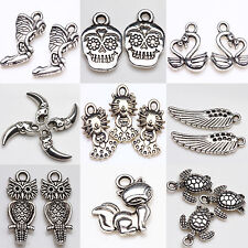 Unisex 20Pcs Tibetan Silver Skull Pendant Charm For Necklace Jewelry Finding DIY