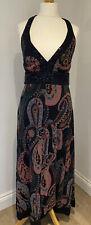 Red Herring Black Patterned & sequin bead halter neck Lined Maxi Dress, UK 12