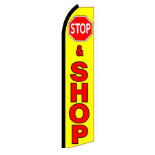 STOP and SHOP Advertising Sign Swooper Feather Flutter Banner Flag Only