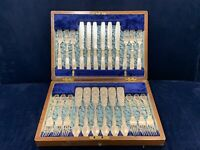 Antique Mother of Pearl Silver Plate Engraved Cutlery Set 24pcs JOHN SANDERSON