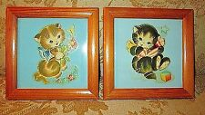 Rare 40's Framed Decal Art Tiles ~ Playing Kittens Kitties Nursery Decor!