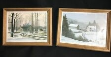 Bill Saunders Listed Canadian Artist 2 Signed Prints FROSTY DAY MAPLE BUSH