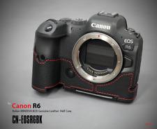 LIM'S Genuine Leather Camera Half Case Dovetail Plate for Canon EOS R6 Black