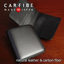 CARFIBE Purse Made in Japan men's Leather Wallet Carbon Fiber Card case F/S NEW