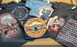 "Lot Of 5 Vintage Rock Band T Shirts GNR RAGE FLYLEAF SWITCHFOOT MEDIUM 19""-19.5"""