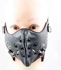 Cool Hip-Hop Punk Gothic Cosplay Rock Style Faux Leather Rivets Holes Face mask
