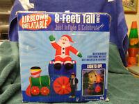 Gemmy 8 Ft. Lighted Santa Train Christmas Airblown Inflatable Yard Decoration