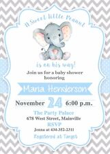 Unbranded blue baby shower greeting cards invitations for sale ebay elephant baby shower invitationboy elephant baby invitation baby shower filmwisefo