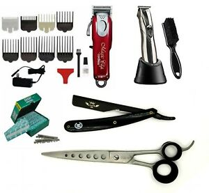 Travel Barber Kit Wahl Magic Cordless Clipper Andis Slimline Pro Trimmer Shears
