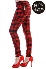 BANNED Red Checked Trousers Stretch Pants Jeans Emo Punk Rock PLUS SIZE 36 38 40