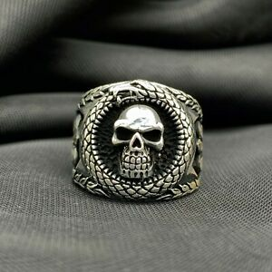 925 Sterling Silver Skull Figure Men's Ring. Size 8, 9, 10, 11, 12, 13