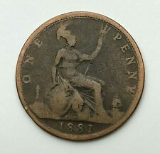 Dated : 1881 - One Penny - 1d Coin - Queen Victoria - Great Britain